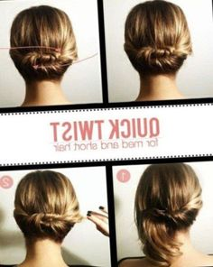 easy hairstyle mid-length hair: 20 inspiring patterns Want to change your look for your mid-length hair? Discover our most beautiful styles of hairstyles easy and practical for your medium hair. Short Hair Updo Easy, Short Curls, Short Hair Styles Easy, Easy Hair, Hairstyle Short, Hairstyle Ideas, Braided Bun Hairstyles, Fast Hairstyles, Trending Hairstyles