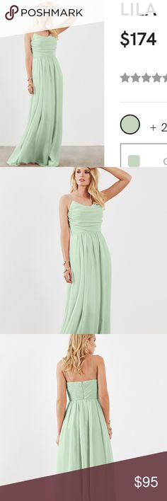 """Weddington Way Sage Bridesmaid Dress -Lila -Brand: Weddington Way  -Color: Sage  -Style: Lila -Fabric: Poly Chiffon -Size: 6 -Length: 58"""" -Waist: 29.25"""" -Bust: 36.5"""" -Details: Worn once at a wedding. Very comfortable. Has pockets! A bit of dirt on the bottom and on one strap (pictured), likely to come out with dry cleaning. Hemmed for woman who is 5'2 with 3 inch heels. Weddington Way Dresses Maxi"""