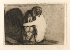 """dappledwithshadow: """"  Edvard Munch Consolation 1894 Dimensions: 8.54 X 12.6 in (21.7 X 32 cm) Medium: Drypoint and etching printed in black """""""