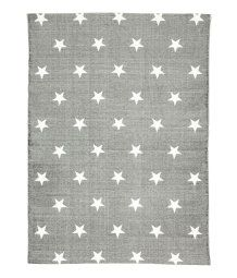Rectangular rug in cotton fabric with printed star pattern at top and non-slip protection at back.