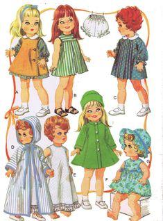 Ropa de la muñeca patrón 9061 Betsy Wetsy Betsy bebé risitas bebé Bevi Ruthie calidad fotocopias de 1960
