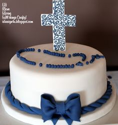 I Love Doing All Things Crafty: Simple Communion Cake for a Boy First Holy Communion Cake, First Communion Cakes, Communion Cake For Boys, Cupcakes, Cupcake Cakes, Comunion Cakes, Confirmation Cakes, Baptism Cakes, Religious Cakes