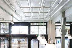 The ceiling of the London Plane is painted in sky blue Argent from Pratt & Lambert.