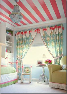 Striped ceiling, pink, girls room