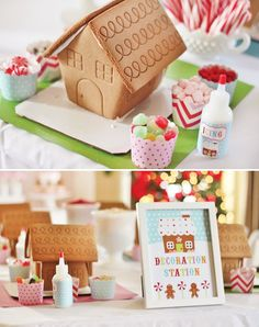 Have some Holiday Spirit with a Girls Gingerbread Decorating Party—festive garlands, custom aprons, cupcakes and cookies. Houses iced in peppermint candy and more.