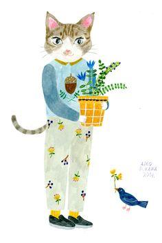by Aiko Fukawa I Love Cats, Crazy Cats, Art And Illustration, Cat Art, Art Drawings, Character Design, Artsy, Wallpaper, Artwork