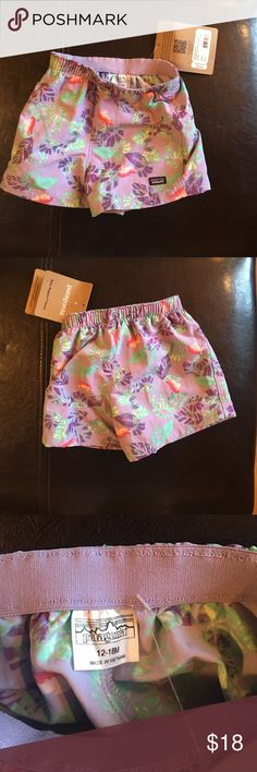 Quick-drying fabric baby baggies shorts NWT Quick-drying fabric baby baggies shorts with durable water repellent finish. Purple teal and peach/pink Patagonia Bottoms Shorts