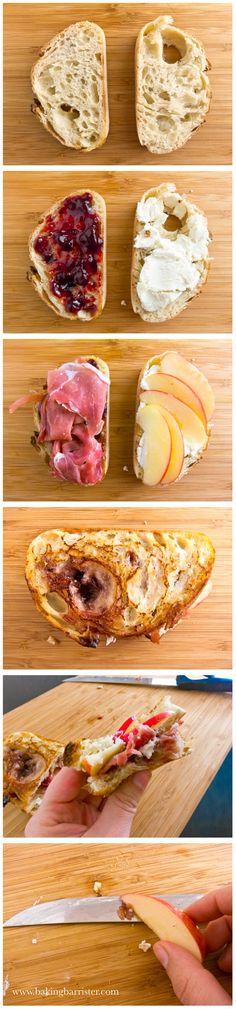 Prosciutto, Goat Cheese & Apple Sandwich with Raspberry Jam