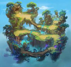 ArtStation - Fog forest, Grey cat Fantasy Places, Fantasy World, Fantasy Art, Environment Concept Art, Environment Design, Pretty Art, Cute Art, Pixel Art, Modelos 3d