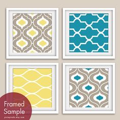 Modern Pattern Prints Collection (Series C) Set of 4 - Square Art Poster Prints (Featured in Truffle Brown, Atlantic and Sunshine)