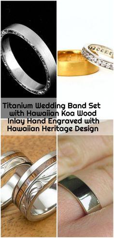 Titanium Wedding Band Set with Hawaiian Koa Wood Inlay Hand Engraved with Hawaiian Heritage Design - mens wedding bands Platinum Wedding, Wedding Band Sets, Hand Engraving, Hawaiian, Engagement Rings, Wood, Jewelry, Design, Enagement Rings