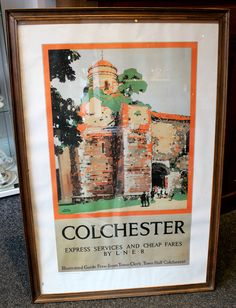 Reproduction Railway Poster by Fred Taylor for LNER. Image is of Colchester Castle reproduced for Colchester Museums by Charterhouse Printing from 1991. Framed and glazed in an oak frame, nice vibrant colours. Framed size measures 25 inches by 37 inches.