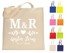 Wedding Tote Bags Personalized Bags Tote Bags Wedding Welcome Bags Wedding Favors Cotton Totes Monogrammed Bags 1341 by SipHipHooray