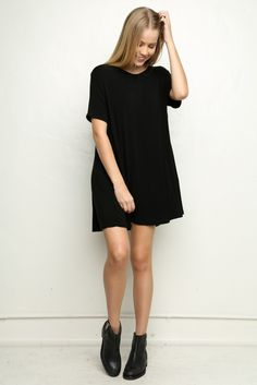 88b6b96ecc71 Brandy Melville USA. Black Tshirt Dress OutfitBlack Loose ...