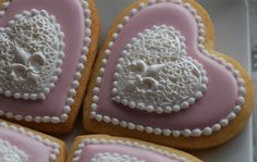 Elengant Pink Heart Pendant Cookies One Dozen by thesweetesttiers