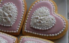 Elengant Pink Heart Pendant Cookies One Dozen by thesweetesttiers