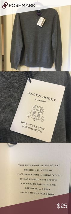 ALLEN SOLLY 100% extra fine wool v neck sweater BRAND NEW WITH TAGS ALLEN SOLLY 100% extra fine Merino wool made in London. It is gray and has a v neck. I just noticed as I was putting it up to take pictures that there is a tiny little tear on the upper right had side on the back/shoulder. This will be noted while priced. ALLEN SOLLY Sweaters V-Neck