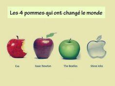 """Ces pommes qui ont changé le monde… La pomme d'Adam et Eve, la pomme d'Isaac Newton, le label """"Apple"""" des Beatles, Apple de Steve Jobs"""