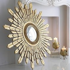 Gold Sunburst Mirror - eclectic - mirrors - an angel at my table Eclectic Wall Mirrors, Home Decor Mirrors, Mirror Mirror, Mirror Ideas, Modern Mirrors, Decorative Mirrors, Vintage Mirrors, Wall Decor, Small Spaces