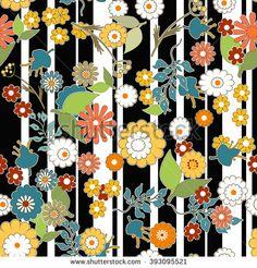 Seamless floral retro design pattern cartoon cute kids flowers striped background - stock photo