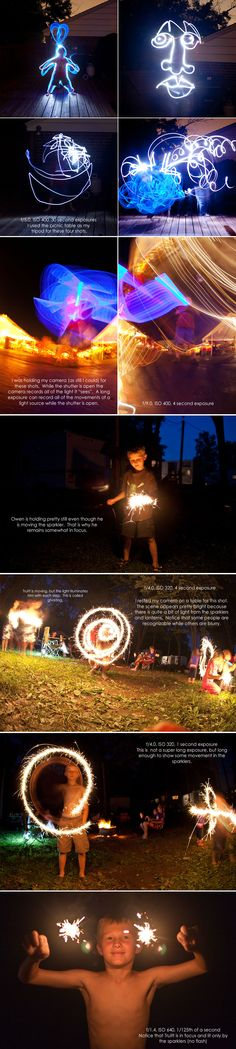 TR - Light Painting with Sparklers! Also can be done with different light sources. Sparkler Photography, Photoshop Photography, Night Photography, Digital Photography, Photography Long Exposure, Long Exposure Photos, Dark Photography, Photography Lessons, Photography Projects
