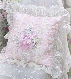 Pink Beaded Pillow
