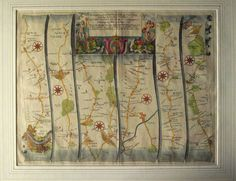 The Road From London yo Hith, Kent, 1675 Vintage World Maps, London, Decor, Decoration, Dekoration, Inredning, Interior Decorating, Deco, Decorations