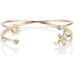 Kate Spade Queen Bee Cuff ($78) ❤ liked on Polyvore featuring jewelry, bracelets, kate spade, golden bangles, studded jewelry, cuff jewelry and locket jewelry