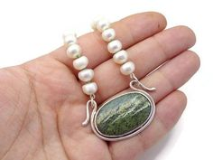 Modern Pearl Necklace With Sterling Silver Clasp by BeatrizFortes
