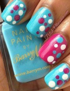 Sky Blue, Pink and White Polka Dot Nail Art Designs. Dot Nail Art, Polka Dot Nails, Polka Dots, Blue Dots, Pink Blue, Pink White, Pink Turquoise, Hot Pink, Pastel Blue
