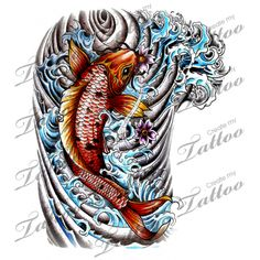 Japanese Half Sleeve Koi Custom Tattoo | Japanese Koi Half Sleeve - Revised #49775 | CreateMyTattoo.com