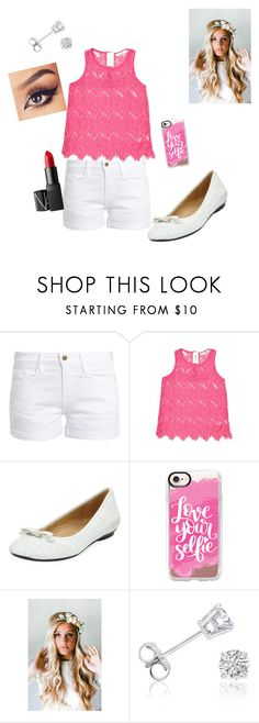 """""""Daughter of Aphrodite:Chilling outfit"""" by fabulous-4296 ❤ liked on Polyvore featuring Frame, Forever 21, Neiman Marcus, Casetify, Emily Rose Flower Crowns, Amanda Rose Collection and NARS Cosmetics"""