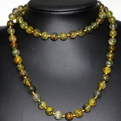10mm natural stone yellow dragon veins agate jasper round beads long chain necklace for women fashion cloth jewelry 35inch B2922