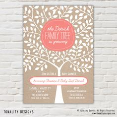 Family Tree Baby Shower Invitation - Girl, Boy or Gender Neutral shower