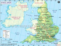 A Detailed Map of England, United Kingdom England Map, Norfolk England, Travel England, Windsor, Map Of Great Britain, York Minster, London Map, Irish Sea, England And Scotland
