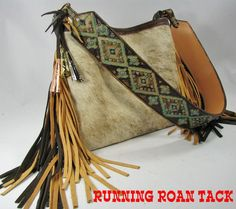 Light Brindle Cowhide Handbag with Aztec Print and Authentic Jingle Cones by Running Roan Tack - $225.00 - #CowgirlChic