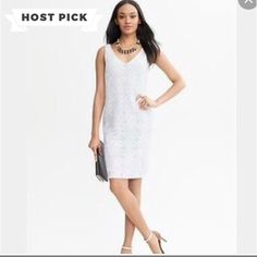 """🎉HP Banana Republic Dress🎉 BR White Lace shift dress.  Lined. Side Zipper. Size 8P. NWT. Length 35"""". Pit to pit 16"""" Classic. 🎉HOST PICK BEST IN DRESSES AND SKIRTS 8/16/16 THANKS ANNETTE @rvatreasures❤️ Banana Republic Dresses Midi"""