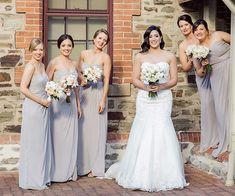 Long Strapless Grey Bridesmaid Dresses