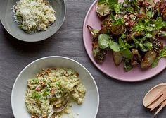 Nicholas Balfe's celeriac and almond 'risotto' (left) and a roast jerusalem artichoke salad make delicious use of seasonal winter root veg.