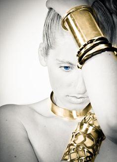 Modern brass 3 inch shiny cuff bracelet chunky jewelry by BISJOUX
