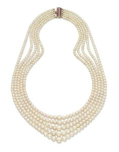 0972ddb61 GABRIELLE'S AMAZING FANTASY CLOSET   A Five-Strand Natural Pearl and Ruby  Necklace   White