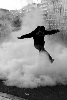 photography Black and White smoke vintage police boy mask revolution gas mask