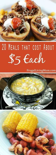 Thinking about want to make for dinner but don't have a lot cash?  Here are 20 meal ideas that only cost around $5 for four servings! Our families fav is the 1st on the list!