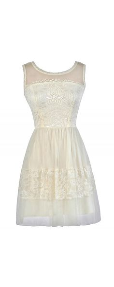 Tulle and Lace A-Line Dress in Ivory www.lilyboutique.com