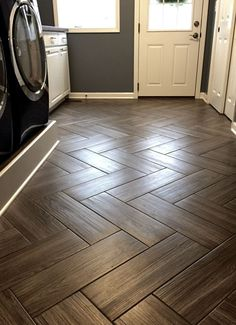 Herringbone pattern w/wood tile