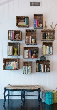 Baskets on walls are a great way to organize in style! #HomeGoodsHappy
