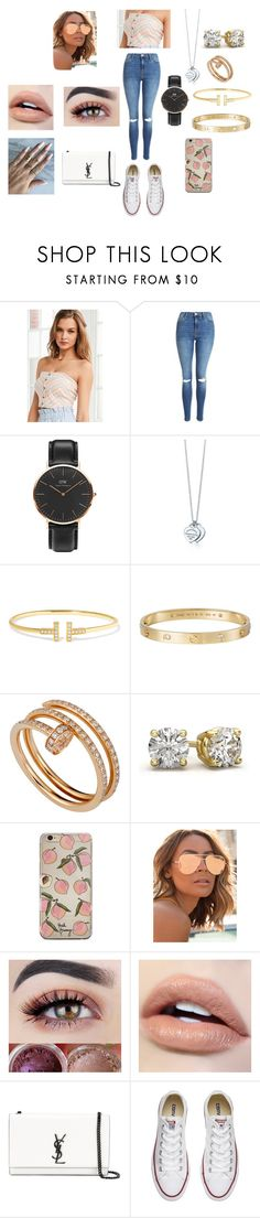 """""""Strapless Chevron Top"""" by jorjarestallx ❤ liked on Polyvore featuring BDG, Topshop, Daniel Wellington, Tiffany & Co., Cartier, Quay, Yves Saint Laurent and Converse"""