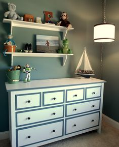 IKEA Hemnes is a classic dresser, simple, plain and suitable for many spaces. Be creative and hack it according to your decor style! Hemnes can be painted . Painting Ikea Furniture, Laminate Furniture, Painted Furniture, Bedroom Furniture, Ikea Bedroom, Bedroom Decor, Boy Dresser, Ikea Dresser, Dresser Ideas