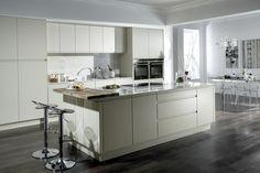 Burbidge's Malmo Kitchen in Matt Mussel - Cupboards, Drawers Island, Breakfast Bar