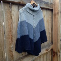 Raveller TheWoolyBirch's Poncho (Hugo pattern by Gosia Grajdek free on Ravelry) is knit in three shades of Indigo yarn to create a lovely gradient effect. Poncho Shawl, Knitted Poncho, Blue Ombre, Ombre Color, Knit Or Crochet, Shawls And Wraps, Knitting Patterns, Crochet Patterns, Ravelry